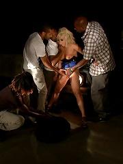 Hot Interracial Gangbang with Smoking Hot Blonde